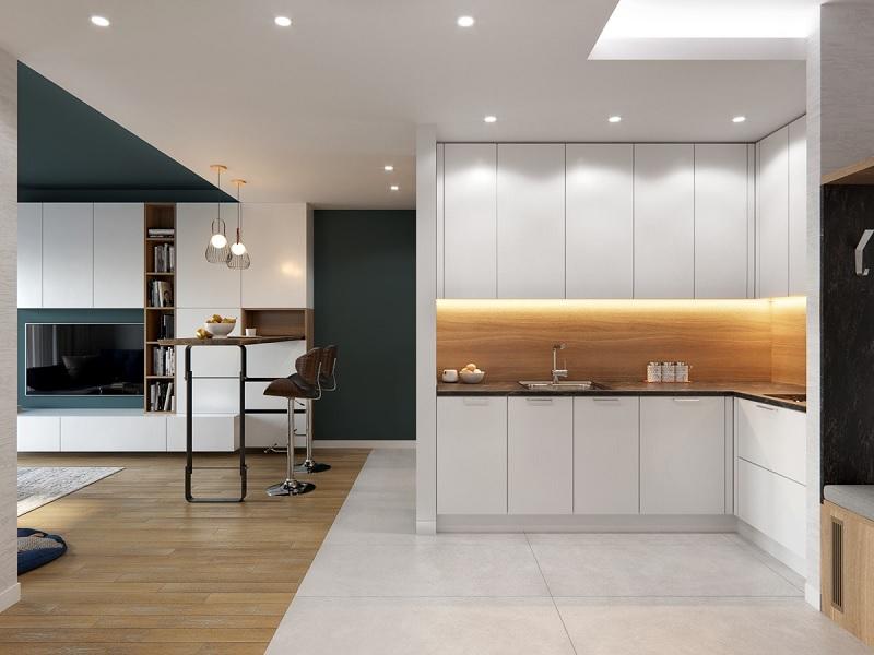 Mẫu thiết kế phòng bếp chung cư đẹp 3