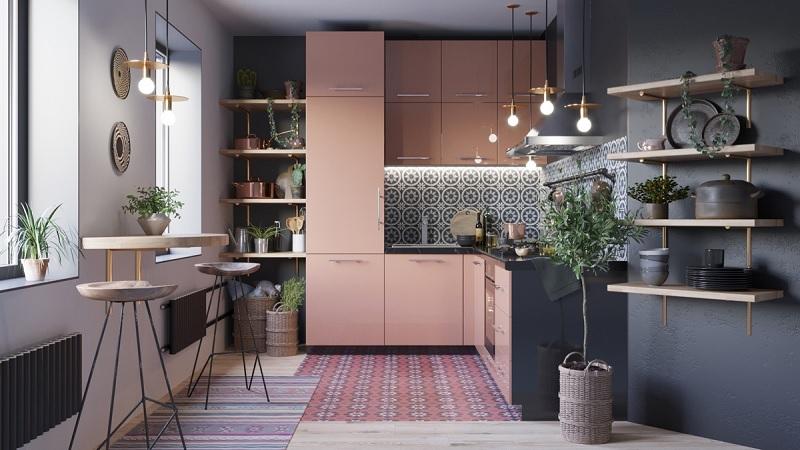 """Dành riêng cho các căn hộ có diện tích trung bình 50m2, 60m2 thì mẫu tủ bếp chữ """"L"""" sẽ giúp cho không gian trở nên tiện nghi, gọn gàng hơn."""
