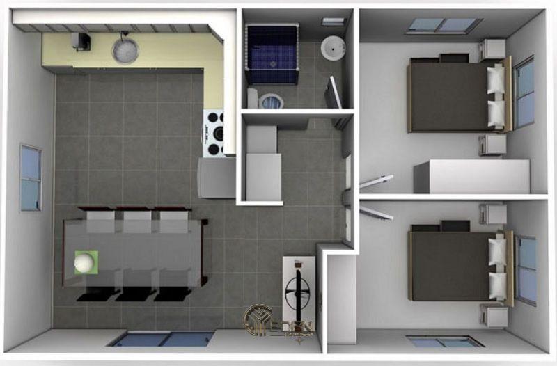 Mẫu 2: Mẫu thiết kế căn hộ chung cư 50m2với 2 giường ngủ với lối thiết kế hấp dẫn