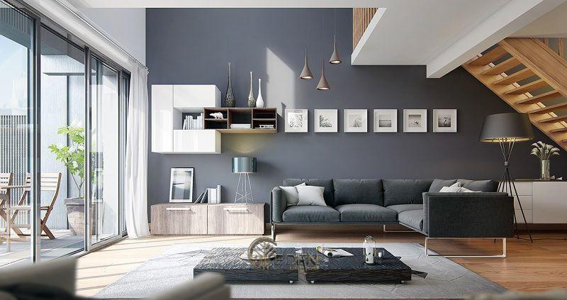 Mẫu phòng khách chung cư 70m2 phong cách hiện đại 1