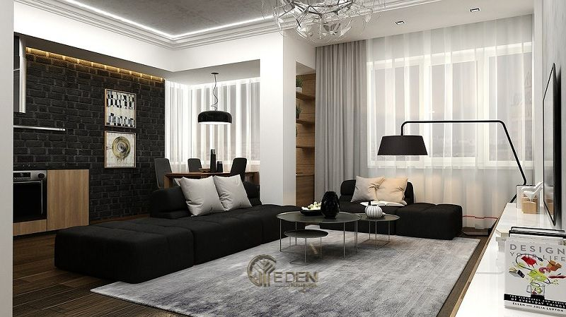 Mẫu phòng khách chung cư đẹp phong cách Tối giản 5
