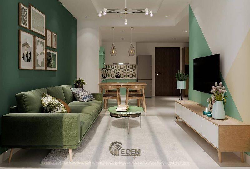 Mẫu phòng khách chung cư 50m2 phong cách hiện đại 2