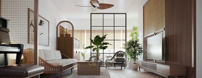 Mẫu phòng khách chung cư 60m2 phong cách hiện đại kiểu Nhật 5