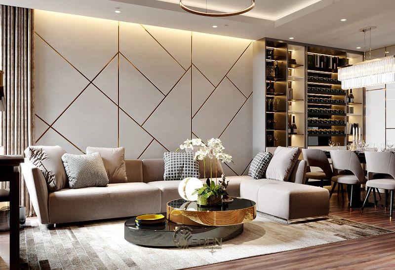 Mẫu phòng khách chung cư đẹp phong cách Tân cổ điển 6