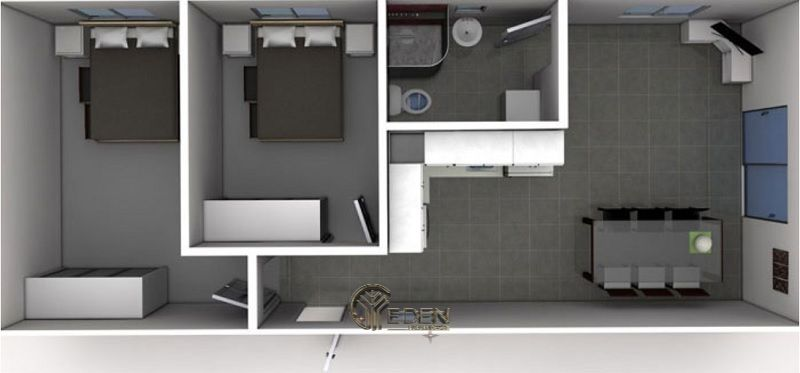 Mẫu 3: Mẫu thiết kế căn hộ chung cư 50m2với 2 giường ngủ rộng rãi cho gia đình có 2 thành viên trở lên
