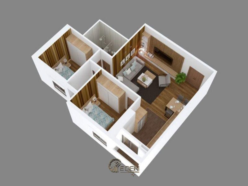 Mẫu 1: Mẫu thiết kế căn hộ chung cư 50m2với 2 giường ngủ đơn giản