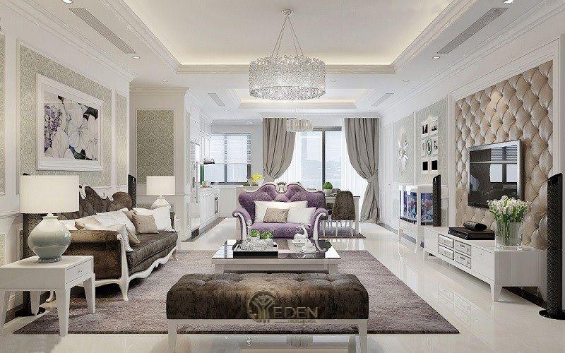 Mẫu phòng khách chung cư đẹp phong cách Tân cổ điển 1