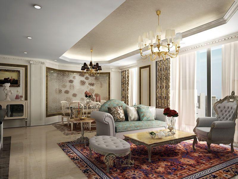 Mẫu phòng khách chung cư đẹp phong cách Tân cổ điển 2