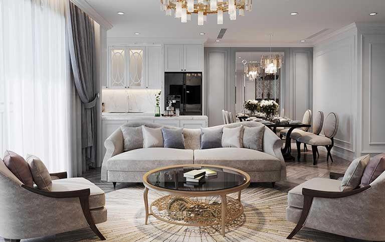 Mẫu phòng khách chung cư đẹp phong cách Tân cổ điển 3