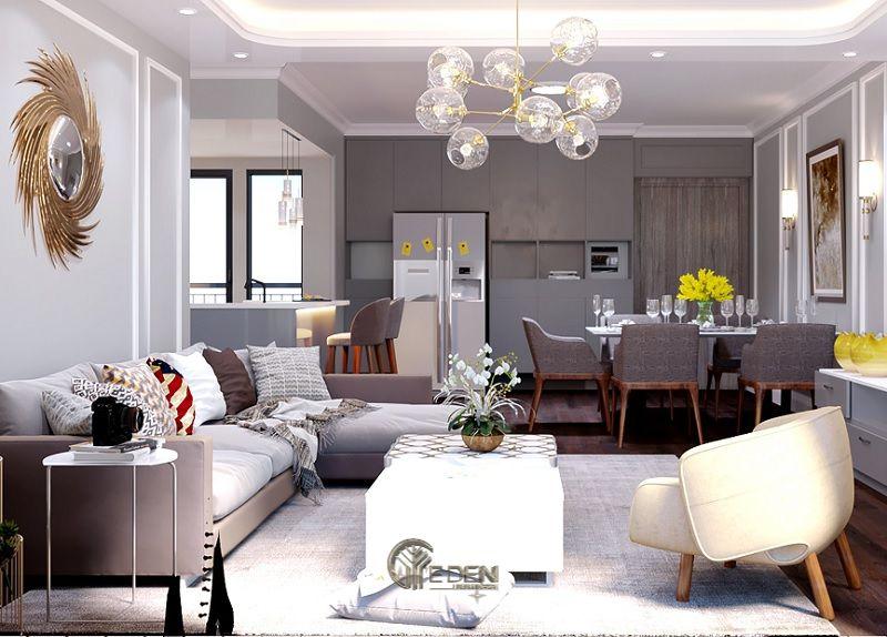 Mẫu phòng khách chung cư đẹp phong cách Tân cổ điển 4