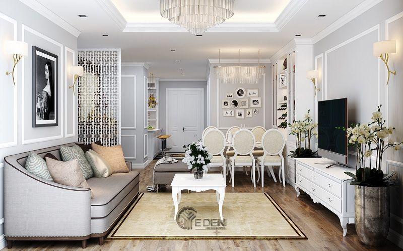 Mẫu phòng khách chung cư đẹp phong cách Tân cổ điển 5