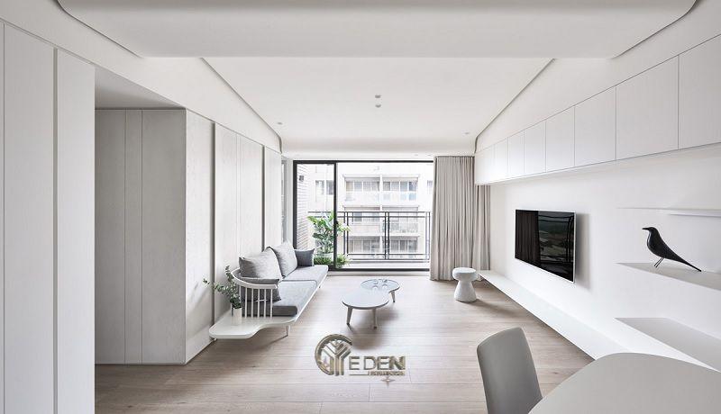 Mẫu phòng khách chung cư đẹp phong cách Tối giản 1