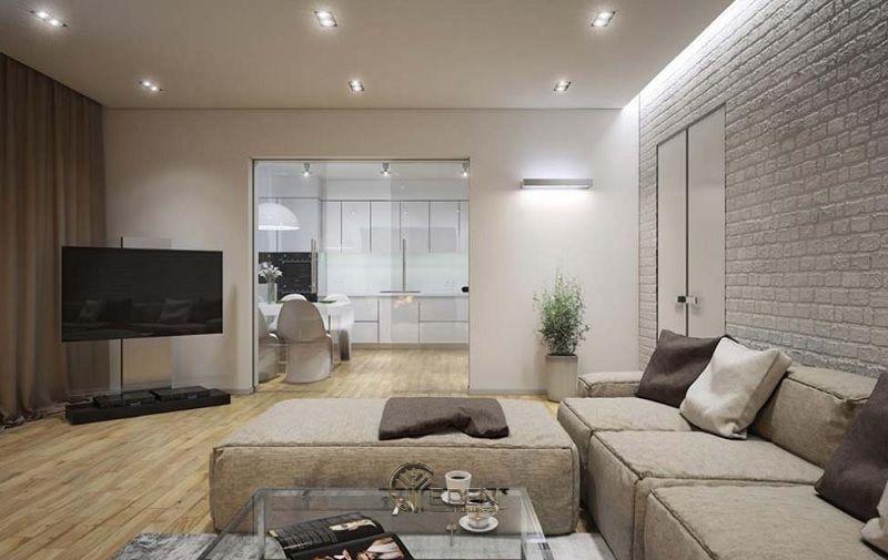 Mẫu phòng khách chung cư đẹp phong cách Tối giản 4