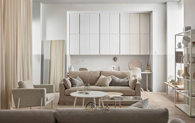 Mẫu phòng khách chung cư đẹp phong cách Tối giản 2