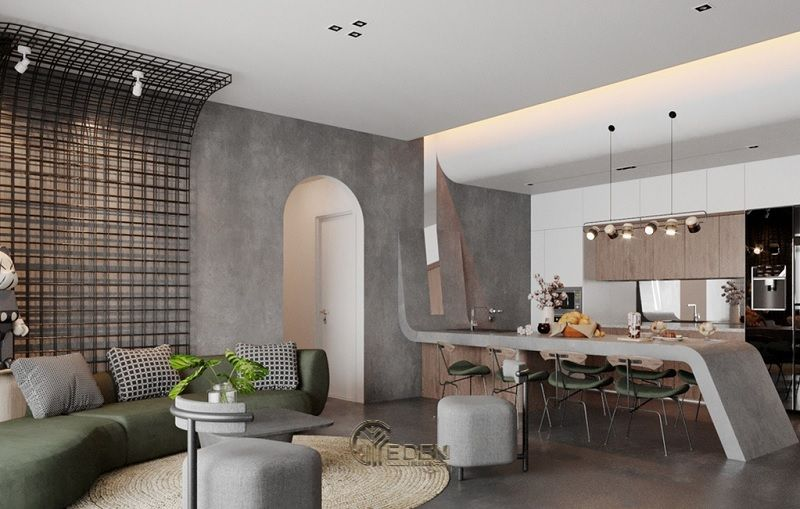 Mẫu phòng khách chung cư đẹp phong cách Tối giản 6