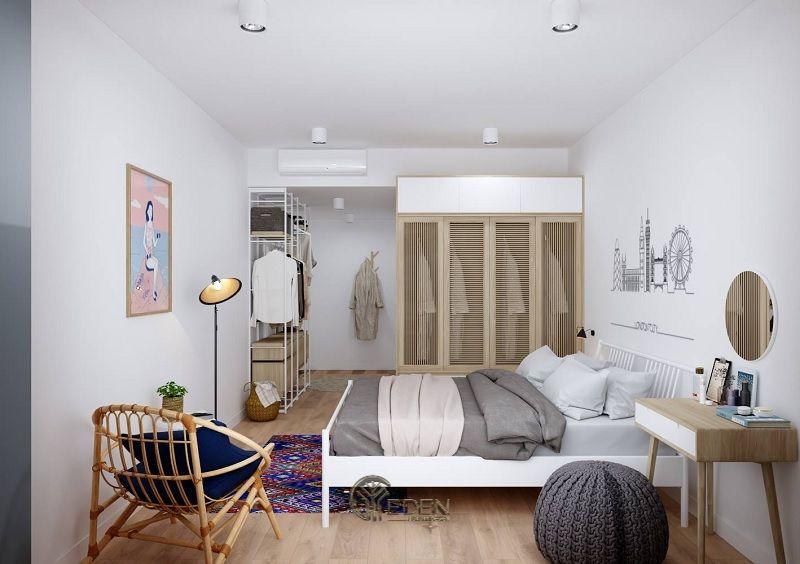 Mẫu phòng ngủ chung cư đẹp phong cách Tối giản 4