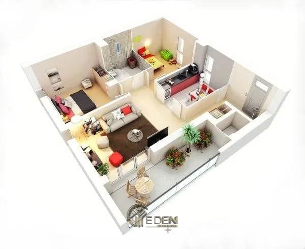 Mẫu 2: Mẫu thiết kế căn hộ chung cư 60m2 cho gia đình có 2 thành viên trở lên