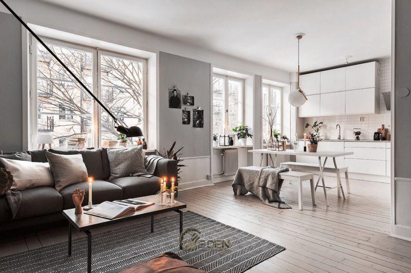Mẫu phòng khách chung cư đẹp phong cách Scandinavian 2