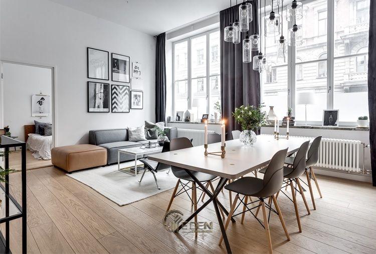 Mẫu phòng khách chung cư đẹp phong cách Scandinavian 1