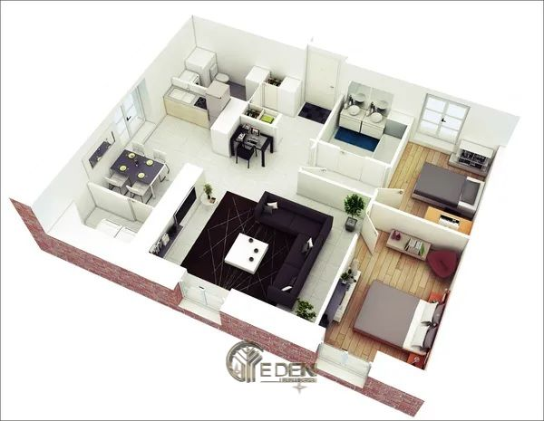 Mẫu 3: Mẫu thiết kế căn hệ chung cư 70m2 cao cấp