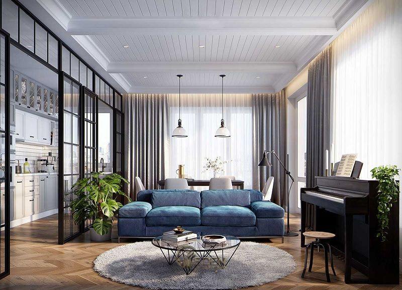 Mẫu phòng khách chung cư 60m2 phong cách hiện đại 6