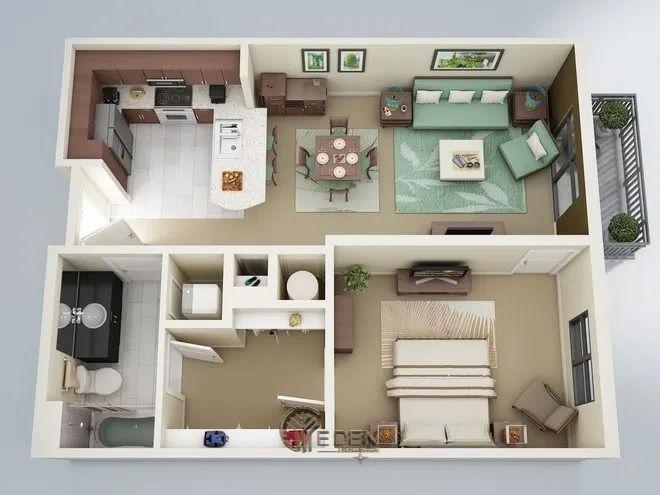 Mẫu 1: Mẫu thiết kế căn hộ chung cư 60m2 với các khu vực riêng biệt, rộng rãi