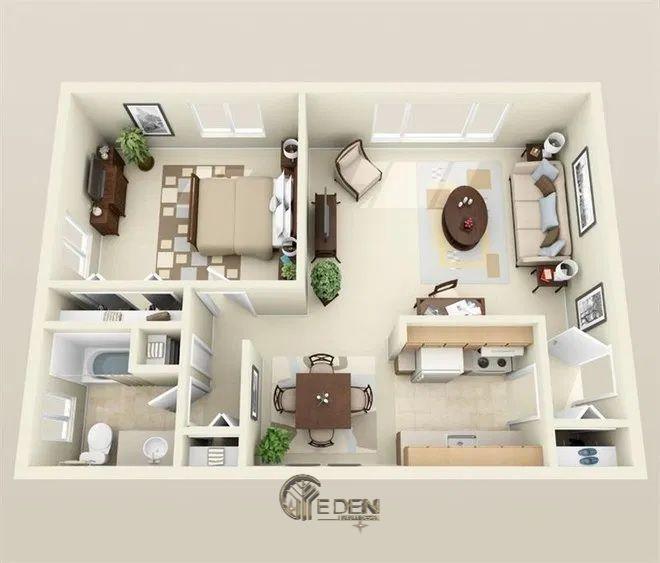 Mẫu 2: Mẫu thiết kế căn hệ chung cư 70m2 cao cấp