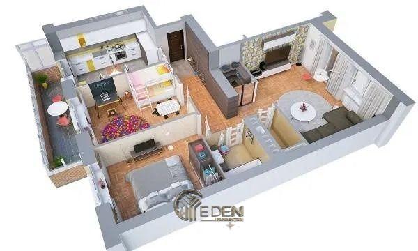 Mẫu 1: Mẫu thiết kế căn hệ chung cư 70m2 cao cấp, rộng rãi