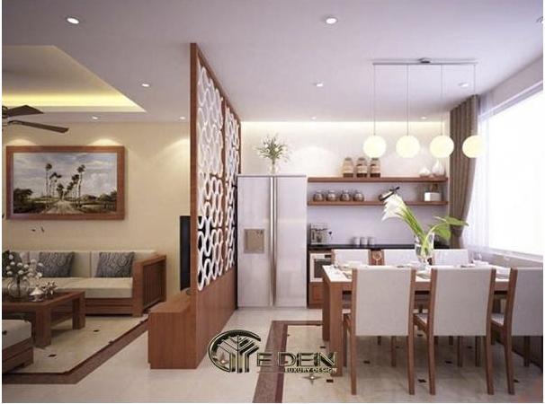 Bày trí vách ngăn tinh tế giữa phòng khách và phòng bếp