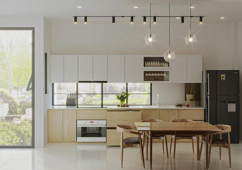 Các bố trí phòng bếp đẹp hài hòa với tổng thể