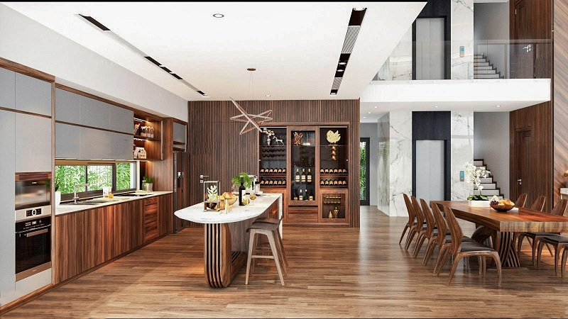 Ứng dụng cách thiết kế nhà bếp đẹp và phòng ăn cho biệt thự sang trọng 5