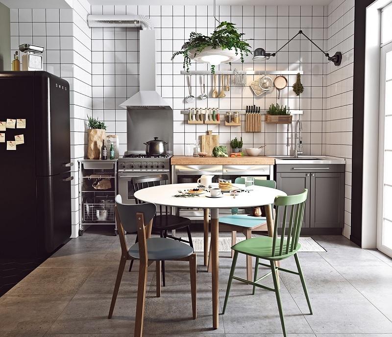 Tạo đường nét bằng gạch, đá ốp tường bếp đẹp