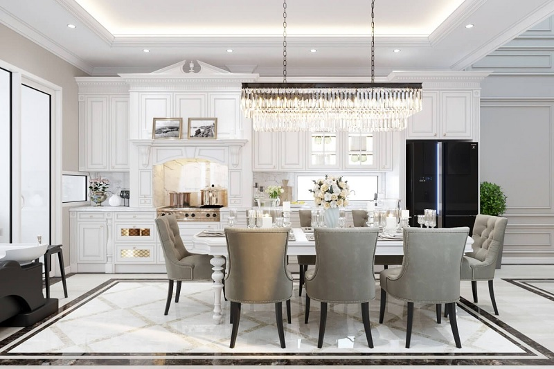 Ứng dụng cách thiết kế nhà bếp đẹp và phòng ăn cho biệt thự sang trọng 1
