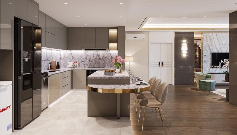 Bề mặt của bàn ăn, bàn quầy bar, bàn để đồ hãy lựa chọn những mẫu đá ốp bếp thu hút. Như: đá hoa cương (Granite), đá cẩm thạch (Marble), đá nhân tạo…