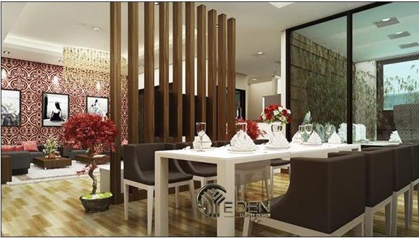 Phòng ăn được thiết kế rất sang trọng và hiện đại