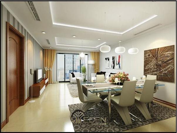 Thiết kế nội thất phòng khách liền bếp căn hộ chung cư cao cấp Pacific Place