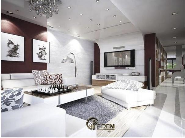 Phòng khách màu trắng bố trí thêm đèn hắt sang trọng