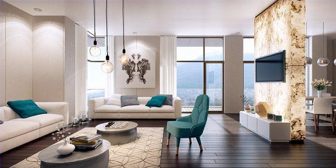 Phòng khách hiện đại chung cư cao cấp Sky City Tower