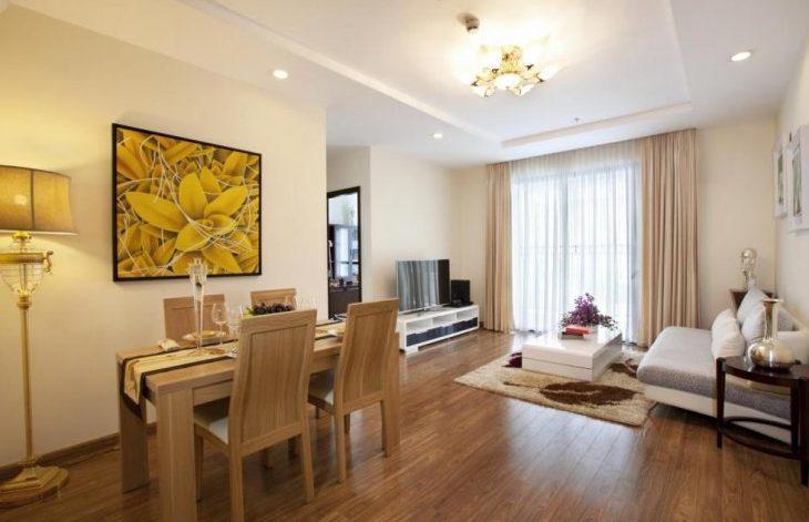 Phòng khách liền bếp chung cư cao cấp Sky City Tower