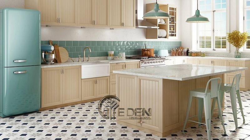 Mẫu phòng bếp với đá ốp phong cách cổ điển