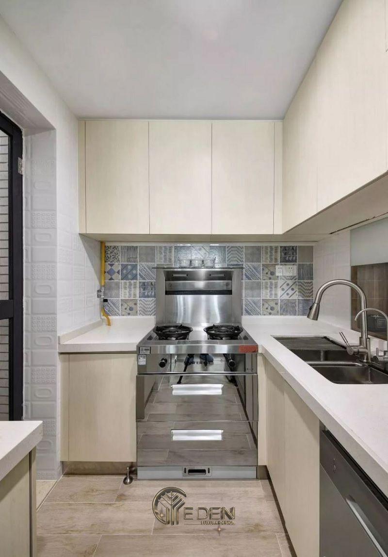 Mẫu phòng bếp với đá ốp phong cách tối giản (4)