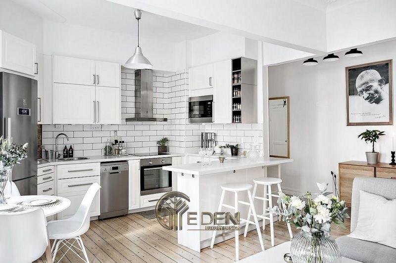 Mẫu phòng bếp với đá ốp phong cách tối giản (1)