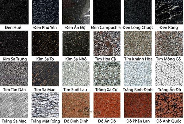 Các màu sắc của dòng Đá granite (Đá hoa cương)