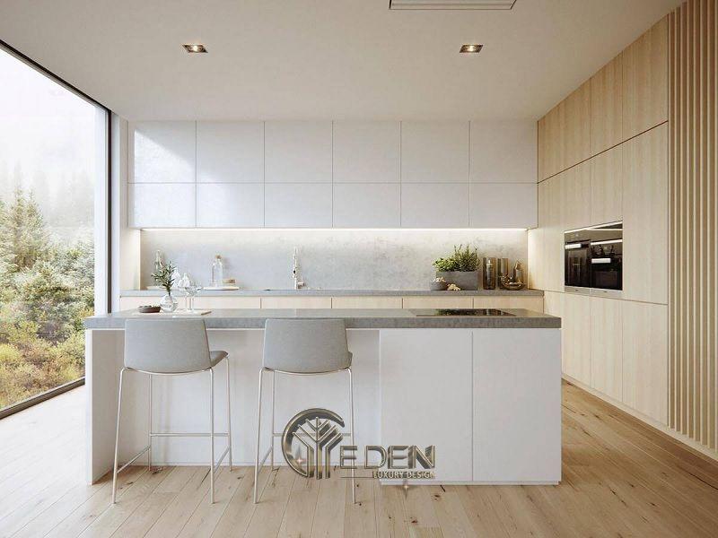 Mẫu phòng bếp với đá ốp phong cách tối giản (2)