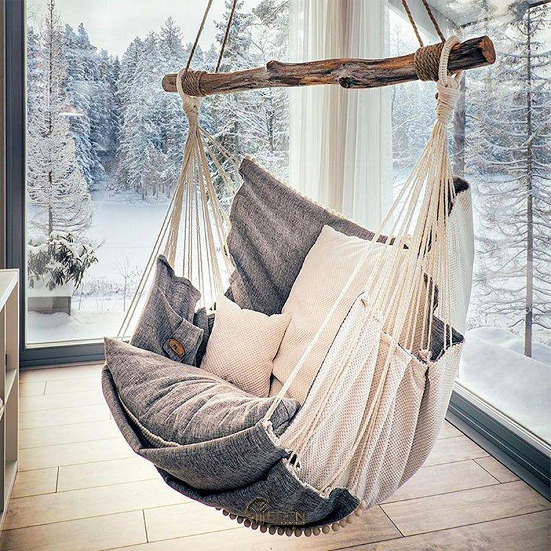 Sáng tạo không gian với thiết kế ghế treo bằng vải. Phù hợp với không gian phong cách Boha, Vintage và Scandivian
