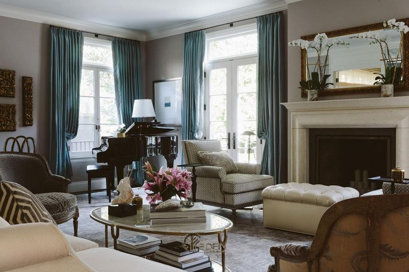 Mẫu thiết kế phòng khách phong cách Cổ điển ấn tượng (2)