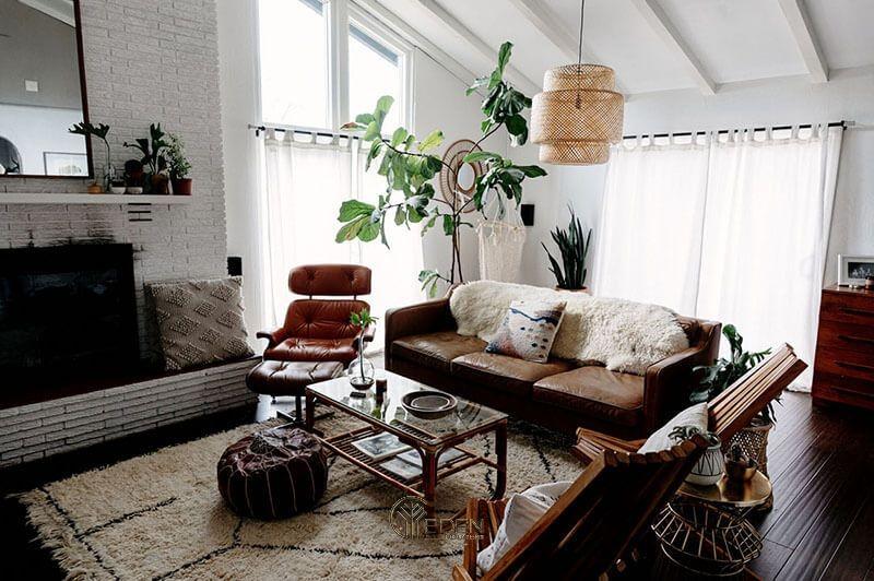 Mẫu thiết kế phòng khách phong cách Bohemian cuốn hút (1)