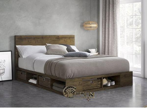 Ấn tượng của sự mộc mạc, bình dị đến từ mẫu giường gỗ tự nhiên