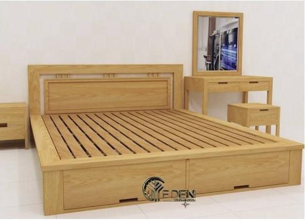 Mẫu giường ngủ thông minh bằng xoan đào