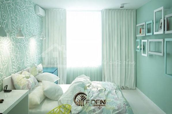 Phòng ngủ màu xanh ngọc ấn tượng